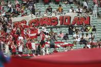 Danish supporters hold a banner for Christian Eriksen, during the Euro 2020 soccer championship quarterfinal match between Czech Republic and Denmark, at the Olympic stadium in Baku, Saturday, July 3, 2021. (Ozan Kose, Pool via AP)
