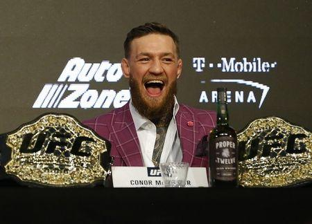 Sep 20, 2018; New York, NY, USA; Conor McGregor during a press conference for UFC 229 at Radio City Music Hall. Mandatory Credit: Noah K. Murray-USA TODAY Sports