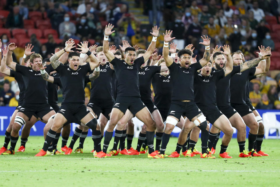 New Zealand perform a haka ahead of the Rugby Championship test match between the All Blacks and the Pumas in Brisbane, Australia, Saturday, Sept. 18, 2021. (AP Photo/Tertius Pickard)