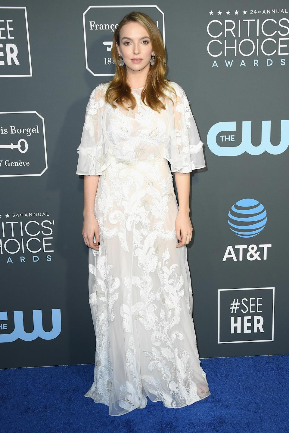 <p>The 'Killing Eve' actress looked miles away from her on-stage assasin character in a floaty Grecian gown by Zuhair Murad. <em>[Photo: Getty]</em> </p>