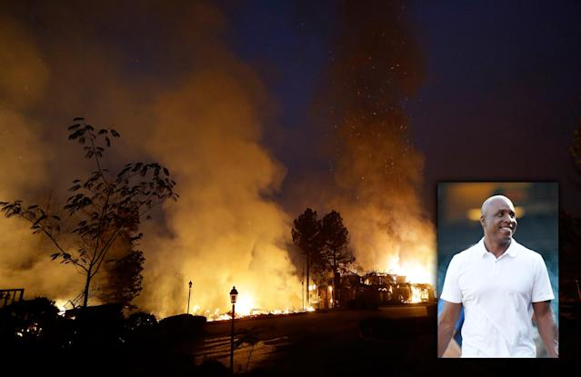 Barry Bonds helped rescue people during the wildfires in California's wine country. (AP)