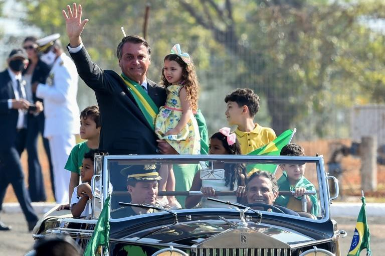 Brazil's President Jair Bolsonaro, seen here in Brasilia, is fighting record low poll numbers and seeking to fire up his right-wing base (AFP/EVARISTO SA)