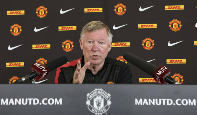 MANCHESTER, ENGLAND - MAY 17: (EXCLUSIVE COVERAGE) Manager Sir Alex Ferguson of Manchester United speaks during his final pre-match press conference as Manchester United manager at Carrington Training Ground on May 17, 2013 in Manchester, England. (Photo by John Peters/Man Utd via Getty Images)