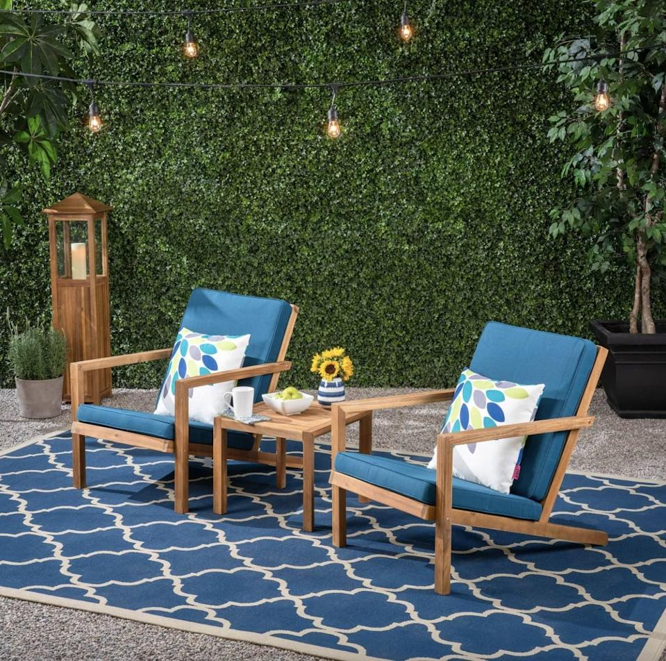 <p>This <span>Leah 3-Piece Acacia Wood Chat Set</span> ($300) will make for the most dreamy spot to relax.</p>