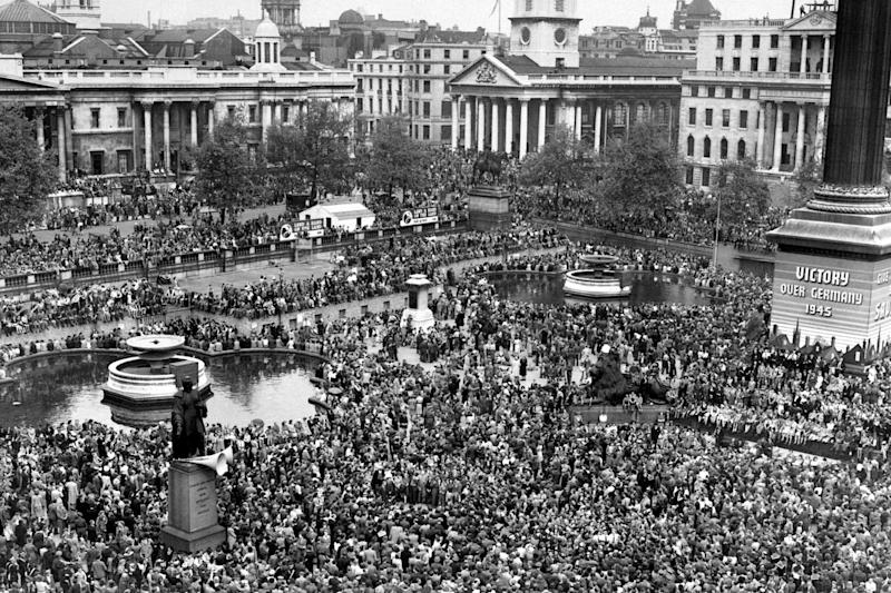 Huge crowds gather at Trafalgar Square celebrate VE (Victory in Europe) Day in London, marking the end of the Second World War in Europe (PA)