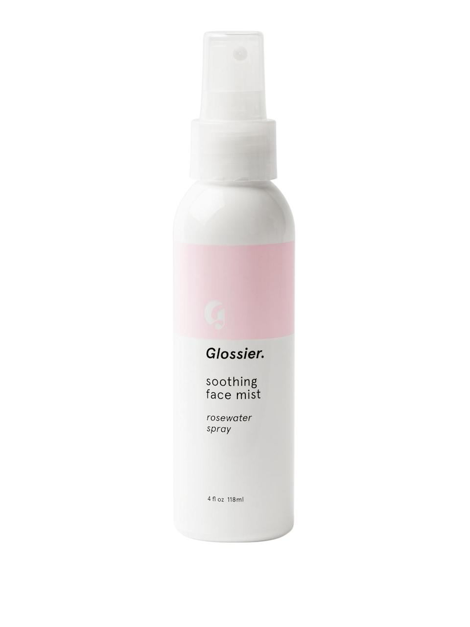 """<h3>Soothing Face Mist<br></h3> <br>Well, it's a face mist — and a very nice one, at that, comprised mostly of rosewater, glycerin, and honeysuckle extract.<br><br><strong>Glossier</strong> Soothing Face Mist, $, available at <a href=""""https://go.skimresources.com/?id=30283X879131&url=https%3A%2F%2Fglossier.sjv.io%2FBVYQW"""" rel=""""nofollow noopener"""" target=""""_blank"""" data-ylk=""""slk:Glossier"""" class=""""link rapid-noclick-resp"""">Glossier</a><br>"""