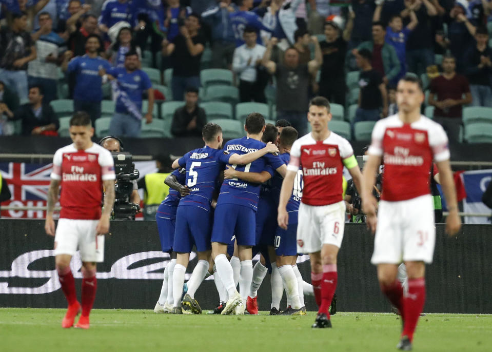 Il Chelsea guidato da Maurizio Sarri batte in finale l'Arsenal per 4-1 e conquista l'Europa League. (AP Photo/Darko Bandic)