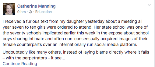 Ms Manning's post has gone viral since it was posted Friday morning. Source: Facebook