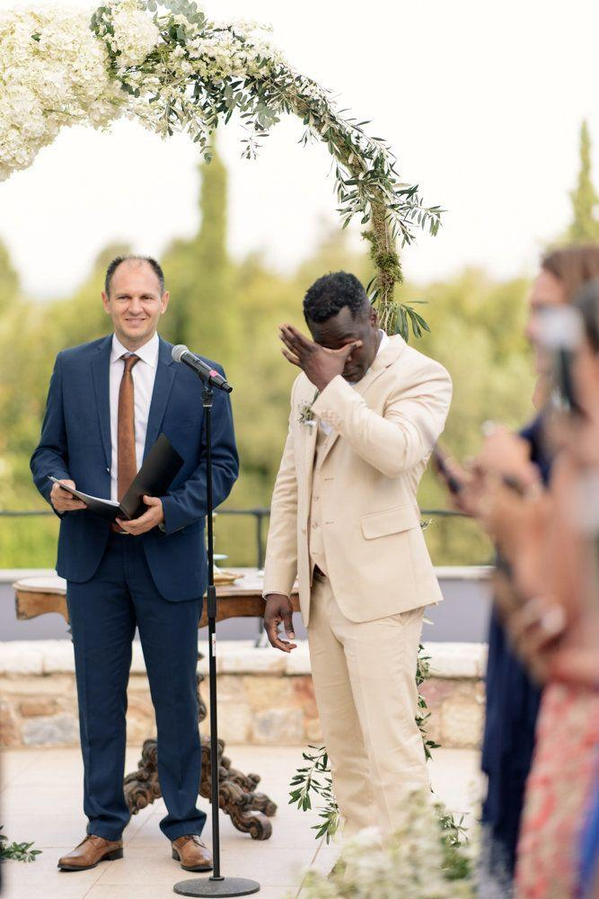 """As familiar as we get with emotional moments at weddings, there is always something very touching when the groom cries."" -- <i>George Fotopoulos</i>"