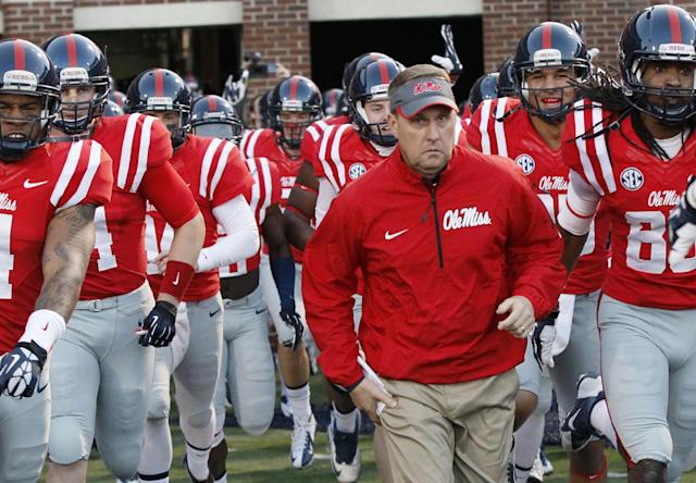 Because of NCAA violations, 27 of Hugh Freeze's 39 wins at Ole Miss must be vacated. (AP Photo/Rogelio V. Solis, File)