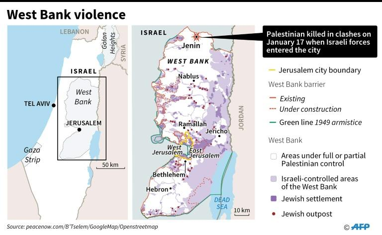 Map locating deadly clashes in Jenin, West Bank