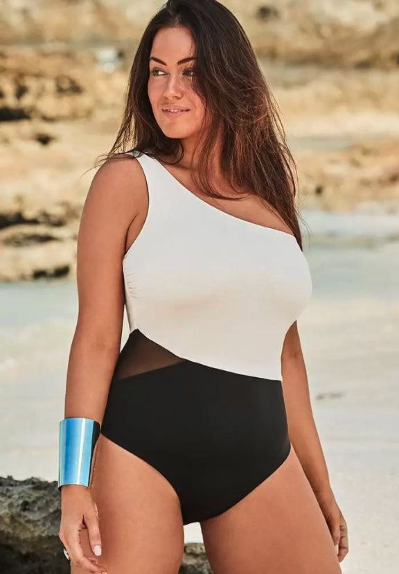 One Shoulder One Piece Swimsuit. Image via Swimsuits for All.