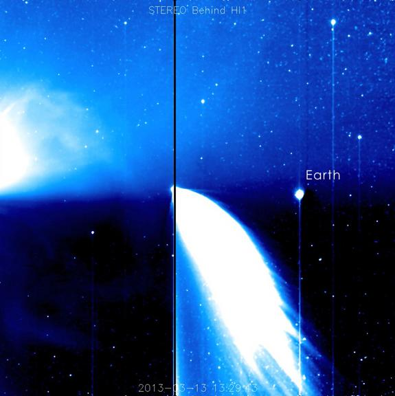 A still from STEREO spacecraft's Behind's HI1 instrument showing Comet Pan-STARRS and a coronal mass ejection (CME). Image taken on March 18, 2013.