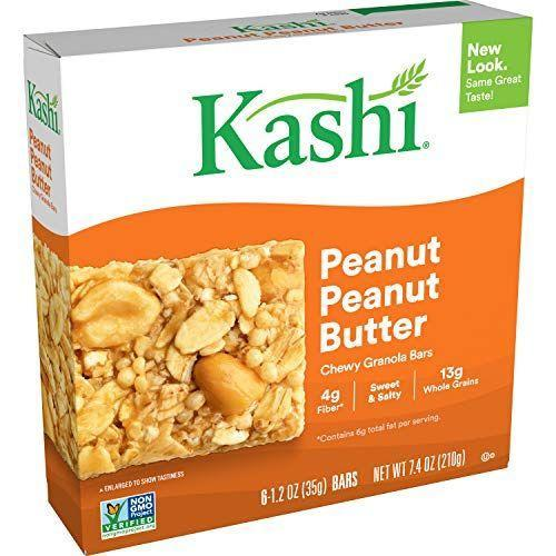 """<p><strong>Kashi</strong></p><p>amazon.com</p><p><strong>$15.62</strong></p><p><a href=""""https://www.amazon.com/dp/B07FB7PMBB?tag=syn-yahoo-20&ascsubtag=%5Bartid%7C10055.g.33456644%5Bsrc%7Cyahoo-us"""" rel=""""nofollow noopener"""" target=""""_blank"""" data-ylk=""""slk:Shop Now"""" class=""""link rapid-noclick-resp"""">Shop Now</a></p><p>Peanut butter fans rejoice! This bar was made for you. KASHI delivers a chewy and delicious granola bar that features <strong>whole grain oats as the first ingredient and has real chunks of peanuts</strong> throughout.</p><p><strong><em>Per 1 bar serving: 140 cal, 6g fat, 100mg sodium, 21g carb, 4g fiber, 5g added sugar, 4g protein</em></strong></p>"""