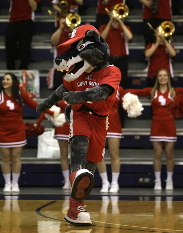 A Stony Brook mascot dances before an NCAA America East college championship basketball game between Albany and Stony Brook on Monday, March 10, 2014, in Albany, N.Y. (AP Photo/Mike Groll)