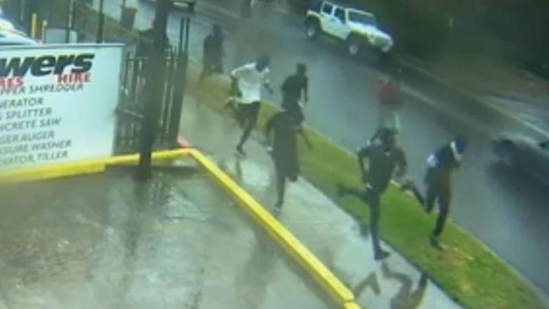 CCTV footage shows youths running towards the fight. Photo: CCTV