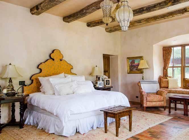<p>Fonda designed many of the elements of the home herself, including the headboard pictured in the master bedroom.</p>