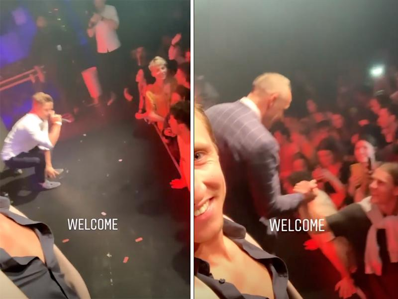 MAFS grooms shaking hands on stage melbourne event