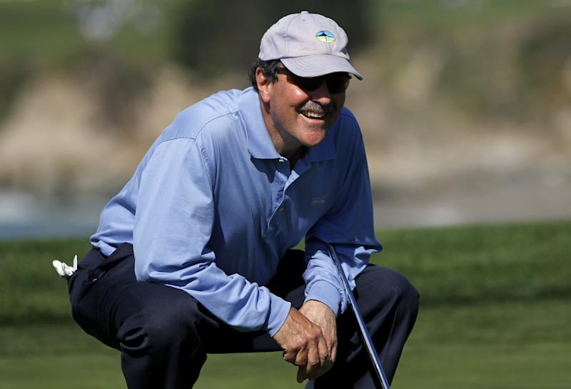 Frank Quattrone waits to putt on the sixth green during the first round of the Pebble Beach Pro-Am golf tournament