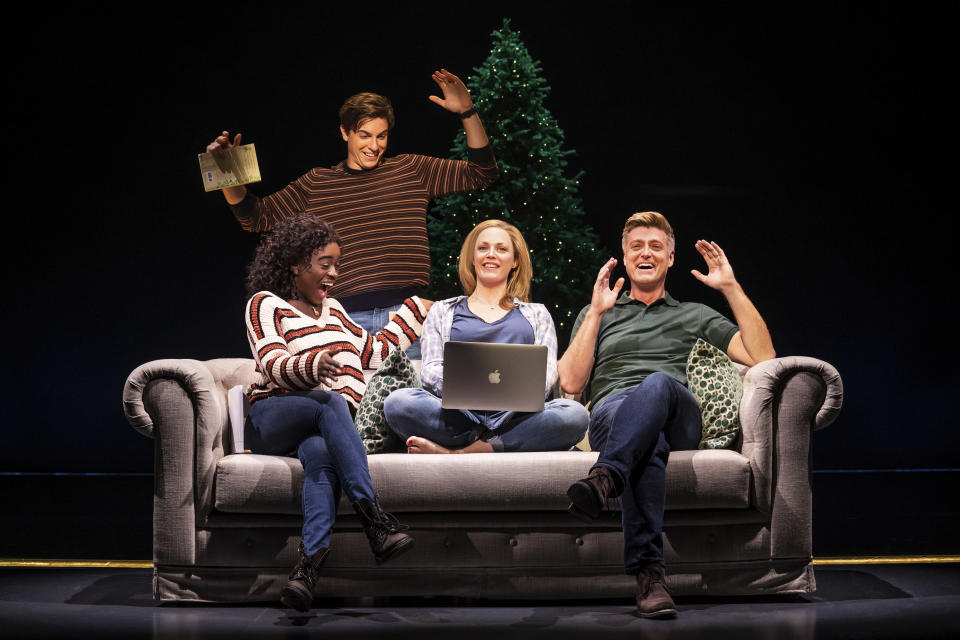 """This image released by Vivacity Media Group shows, from left, Celia Rose Gooding, Derek Klena, Elizabeth Stanley, Sean Allan Krill in a scene from the musical """"Jagged Little Pill."""" (Matthew Murphy/Vivacity Media Group via AP)"""