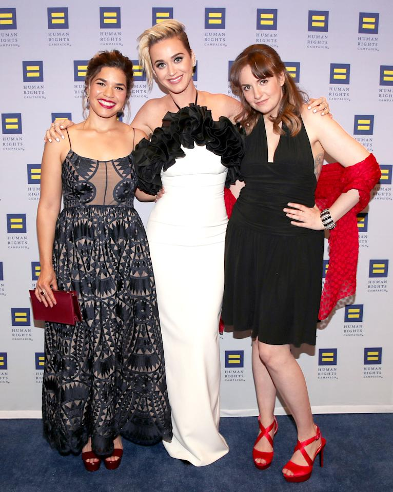 <p>(From left) America Ferrera, Katy Perry and  Lena Dunham attend The Human Rights Campaign 2017 Los Angeles Gala Dinner on Saturday.</p>