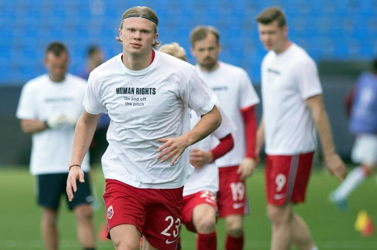 Norway star Erling Braut Haaland wearing a t-shirt with the slogan 'Human rights, on and off the pitch' before his team's World Cup qualifier against Turkey