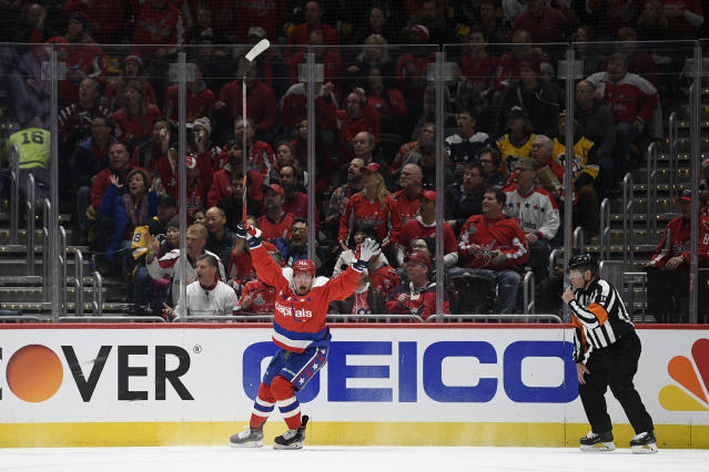 Washington Capitals left wing Jakub Vrana (13) celebrates his goal during the first period of an NHL hockey game against the Pittsburgh Penguins, Sunday, Feb. 23, 2020, in Washington. (AP Photo/Nick Wass)