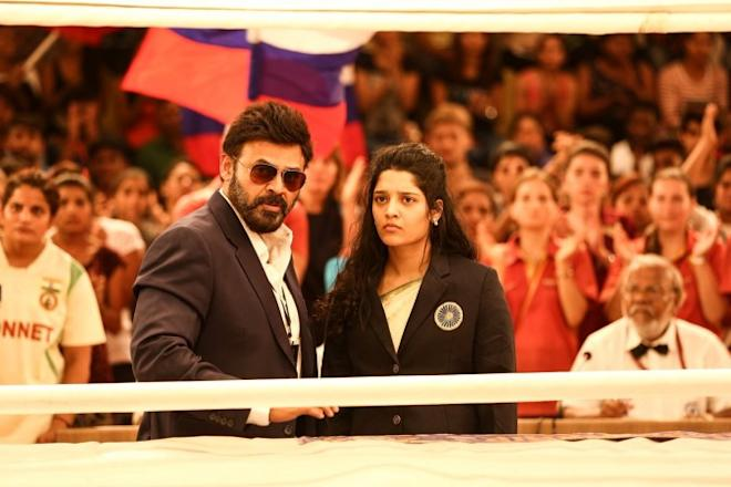 Venkatesh and Ritika Singh in Guru