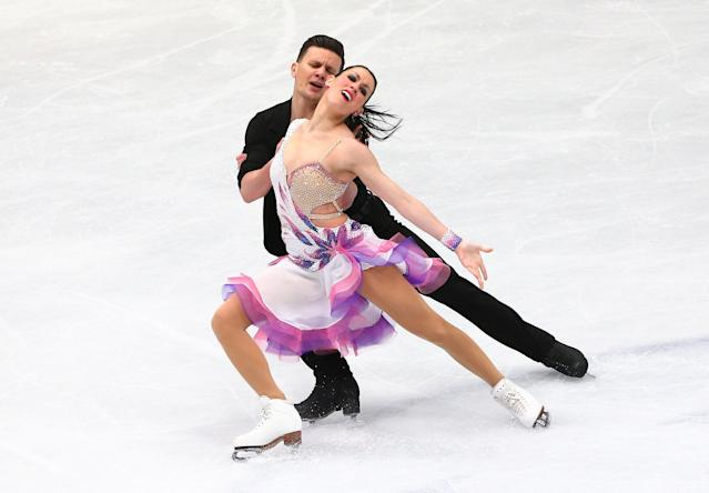 Figure Skating - World Figure Skating Championships - The Mediolanum Forum, Milan, Italy - March 23, 2018 Italy's Charlene Guignard and Marco Fabbri during the Ice Dance Short Dance program REUTERS/Alessandro Bianchi