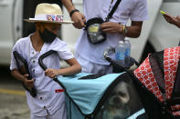 A child leans against a stroller transporting a pet that belonged to Keishla Rodriguez, whose lifeless body was found in a lagoon Saturday, at a funeral home in San Juan, Puerto Rico, Thursday, May 6, 2021. A federal judge on Monday ordered Puerto Rican boxer Felix Verdejo held without bail after he was charged with the death of Keishla Rodriguez and with intentionally killing the unborn child she was carrying. (AP Photo/Carlos Giusti)