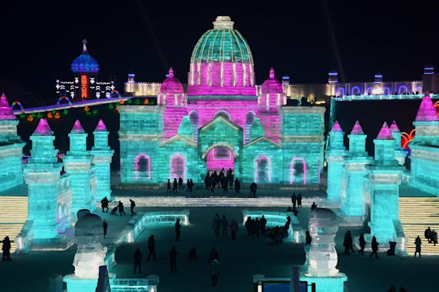 <p>People visit the Harbin Ice and Snow World in Harbin in China's northeastern Heilongjiang province on Jan. 2. (Photo: AFP/Getty Images) </p>