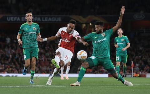 Pierre-Emerick Aubameyang of Arsenal scores their 3rd goal during the UEFA Europa League Group E match between Arsenal and Vorskla Poltava - Credit:  Marc Atkins/Getty Images