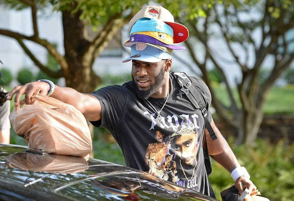 Carolina Panthers defensive end Brian Burns has a hat for all occasions as he unpacks his car at the team's dormitory at Wofford College in Spartanburg, SC on Tuesday, July 27, 2021.