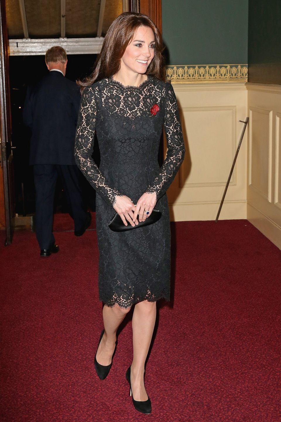 <p>At the Festival of Remembrance at Royal Albert Hall in a black lace Dolce & Gabbana dress and Jimmy Choo pumps.</p>