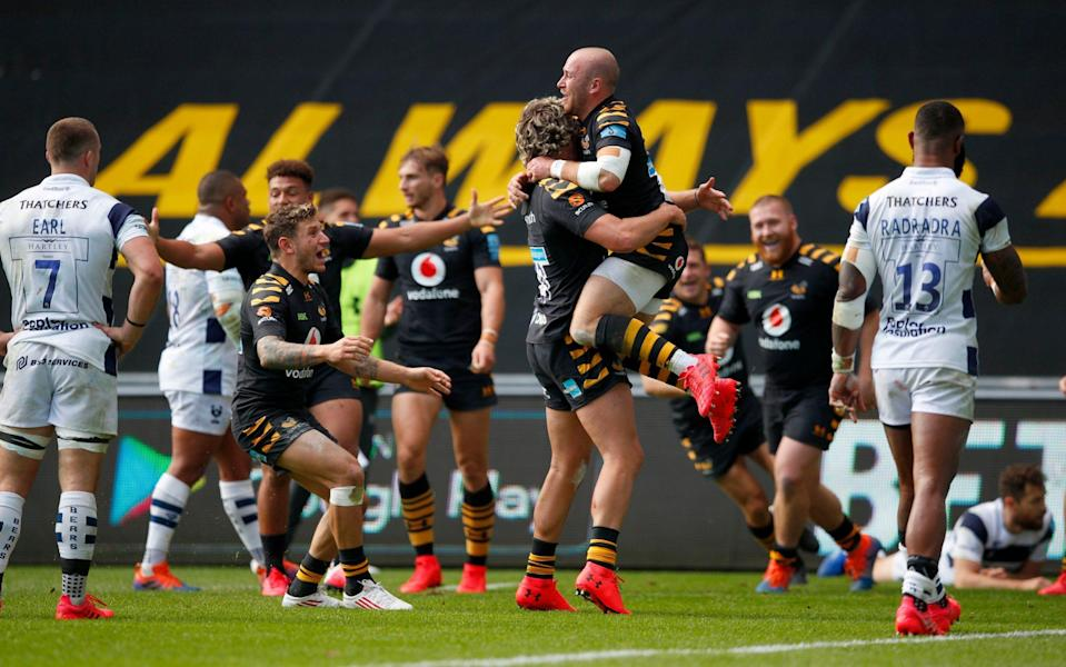 Dan Robson of Wasps celebrates scoring a try during the Gallagher Premiership Rugby first semi-final match between Wasps and Bristol Bears at Ricoh Arena - GETTY