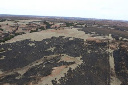 Burnt terrain is seen in an aerial view of the Anderson Creek wildfire in southern Kansas