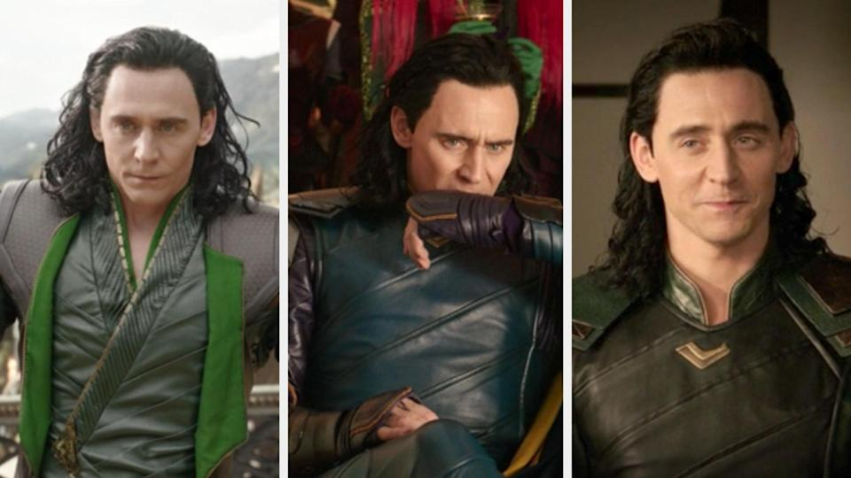 Loki in a green outfit in the beginning of the movie, blue in the middle, and back to green in the end of Ragnarok
