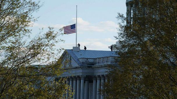 PHOTO: The American flag at the U.S. Capitol flies at half-staff in honor of Capitol Police officer William Evans who was killed after a man rammed a car into two officers at a barricade outside the U.S. Capitol, April 2, 2021. (Alex Brandon/AP)