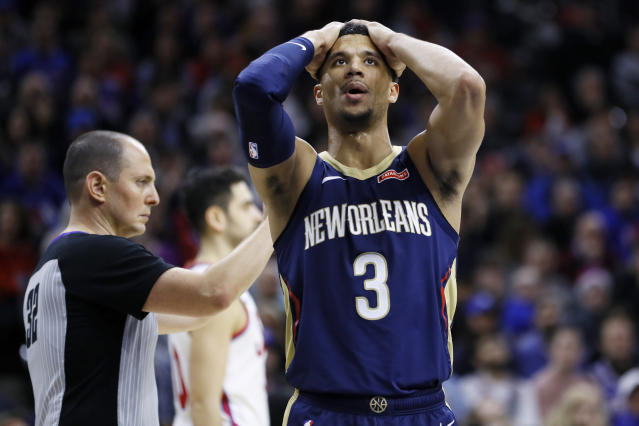 New Orleans Pelicans' Josh Hart (3) reacts after a foul was called against him during the second half of an NBA basketball game against the Philadelphia 76ers, Friday, Dec. 13, 2019, in Philadelphia. (AP Photo/Matt Slocum)