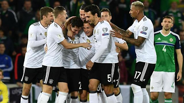 Sebastian Rudy scored his first international goal to help Joachim Low's side make it nine wins from nine in qualifying.