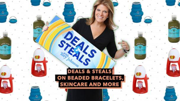PHOTO: Deals and Steals on beaded bracelets, skincare and more (ABC News Photo Illustration, West Bend, Aruba Aloe, Hydaway)