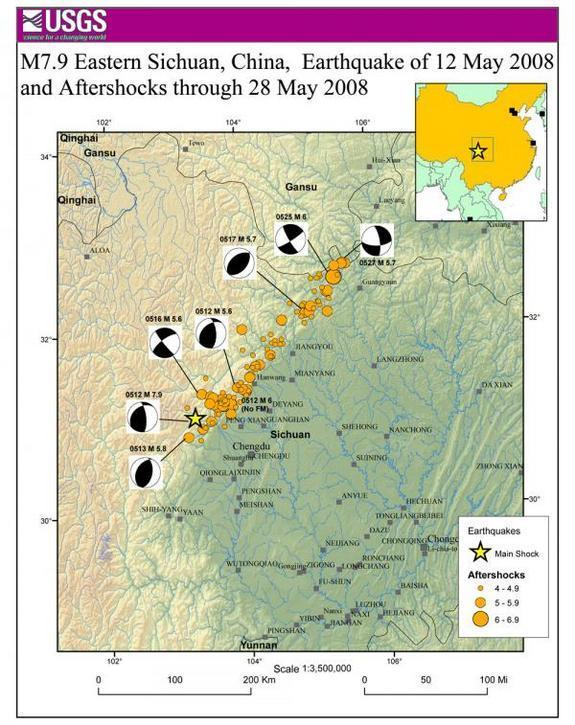 The area hit by the 2008 Wenchuan earthquake and aftershocks.