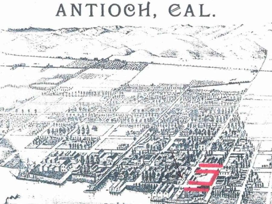 A map of Antioch, California, showing the Chinatown in the 1800s (Antioch Historical Society & Museum)