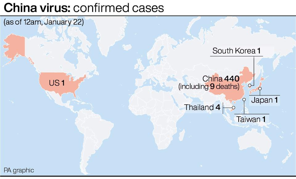 Coronavirus confirmed cases (PA Graphics)