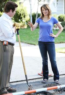 Nick Offerman, Lucy Lawless | Photo Credits: Tyler Golden/NBC