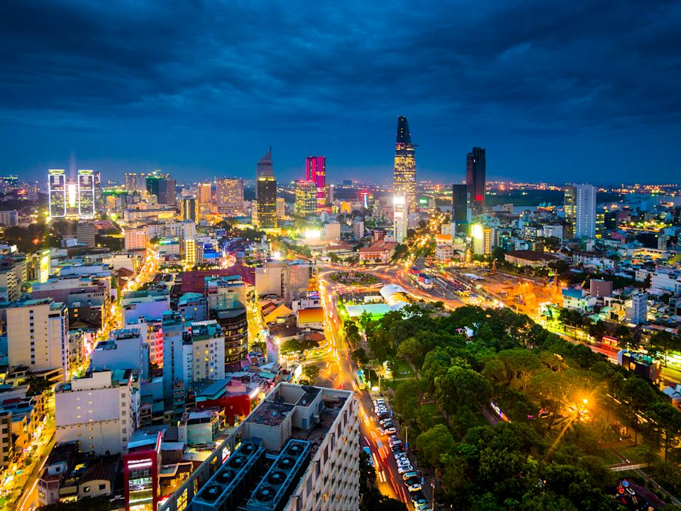 View of the buildings in Ho Chi Minh city or Saigon in Vietnam at night. Photo: Getty
