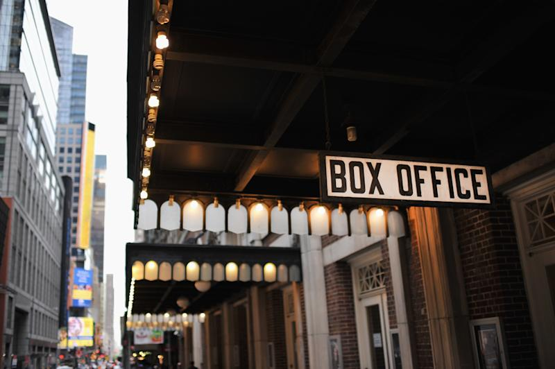 """Box office sign of off-Broadway theater near Times Square in New York City, New York."""