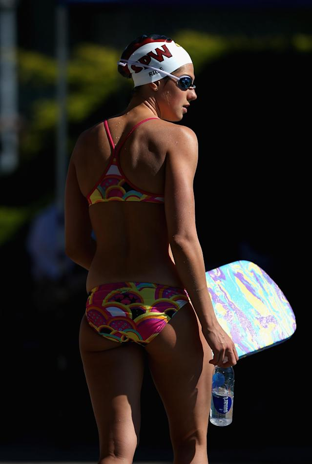 SANTA CLARA, CA - JUNE 02: Stephanie Rice of Australia gets ready to swim in the warm up pool during day 3 of the Santa Clara International Grand Prix at George F. Haines International Swim Center on June 2, 2012 in Santa Clara, California. (Photo by Ezra Shaw/Getty Images)