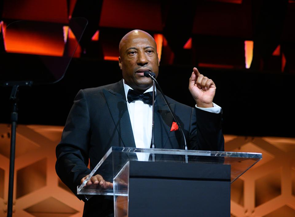NEW YORK, NY - OCTOBER 29:  Byron Allen speaks at the Broadcasting & Cable Hall Of Fame In New York's Historic Ziegfeld Theatre on October 29, 2019 in New York City.  (Photo by Dave Kotinsky/Getty Images for  Entertainment Studios / Allen Media Group)