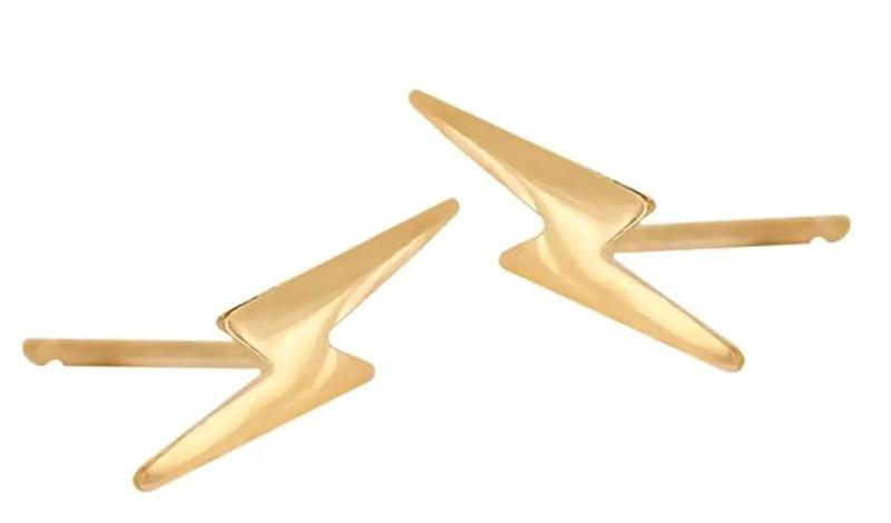 """You already know your parenting partner is a certified badass, but let them show the world with these lightning bolt earrings. <a href=""""https://www.thebay.com/van-der-hout-jewelry-14k-yellow-gold-lightning-stud-earrings/product/0600091269463?R=680515000285&amp;P_name=Van+Der+Hout+Jewelry&amp;N=302027145&amp;bmUID=mX_l_Yx"""" target=""""_blank"""" rel=""""noopener noreferrer"""">The Bay</a>, $140."""